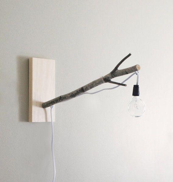white birch branch pendant wall/desk lamp by urbanplusforest