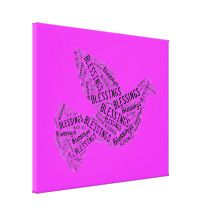 Blessings Dove, Inspirational Canvas, Neon #Pink Canvas Print