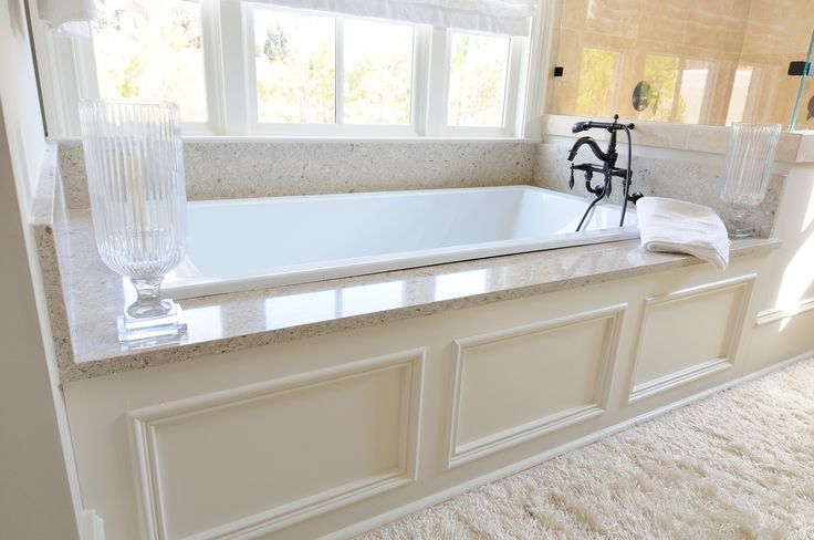 "Traditional Master Bathroom with White underscore collection 60"" drop in deep soaker bath tub, Drop in tub, 4-piece bath"
