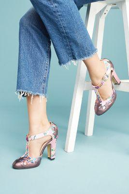 Anthropologie Lenora Dolly T-Strap Heels