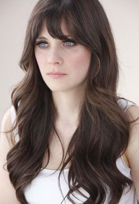 Zooey Deschanel- long hair cut & color