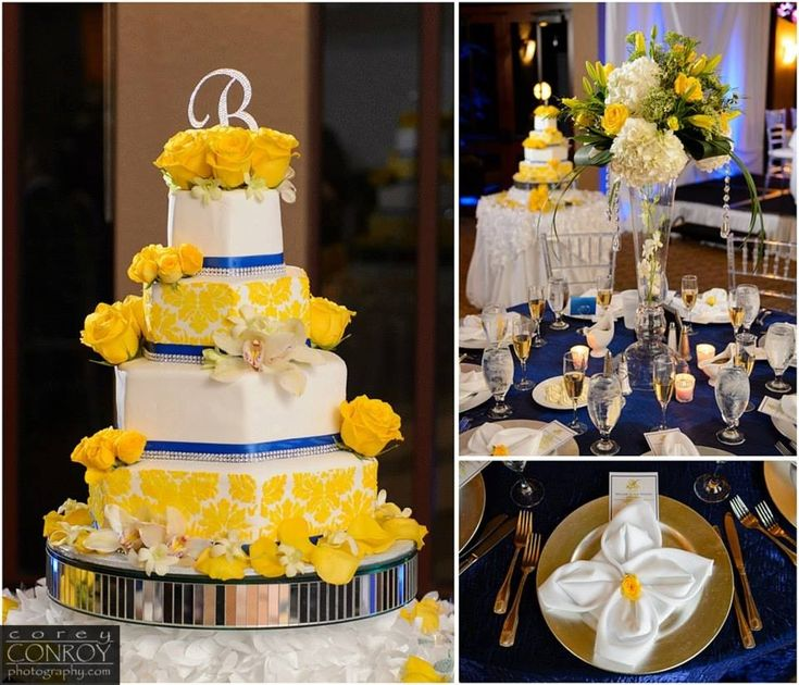 Wedding Cake Ideas Royal Blue: Royal Blue And Yellow DamAsk Wedding Cake