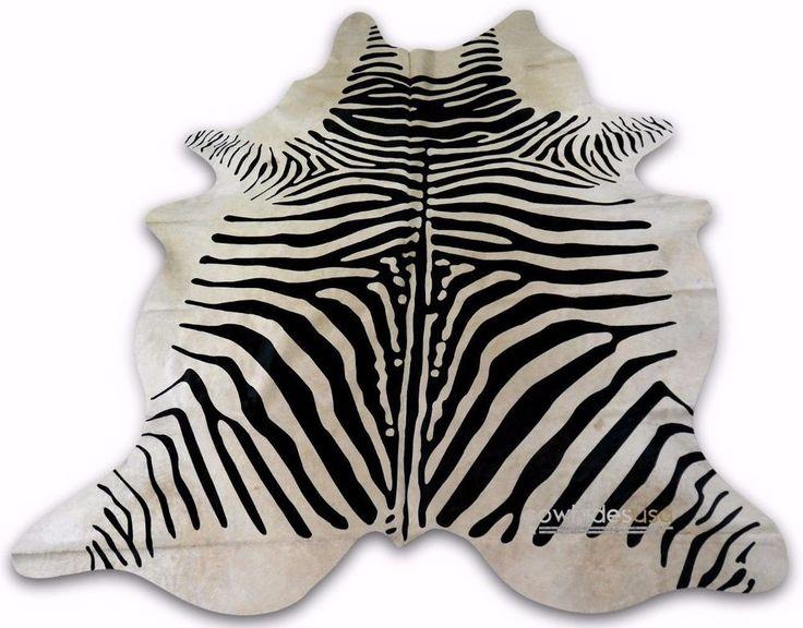 Zebra Cowhide Rug Size: 6.5 X 5.7 ft Zebra Print On Off-White Cow Hide Rug E-548 #cowhidesusa #Contemporary