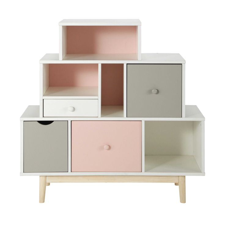 Regal- und Schubkastenmöbel aus Holz, B 105 cm, weiß Blush