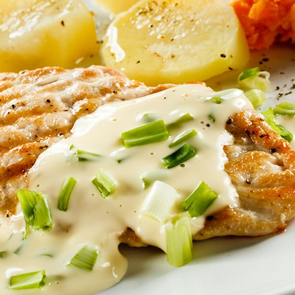 Grilled Chicken with creamy Caesar sauce delicious served with romain lettuce