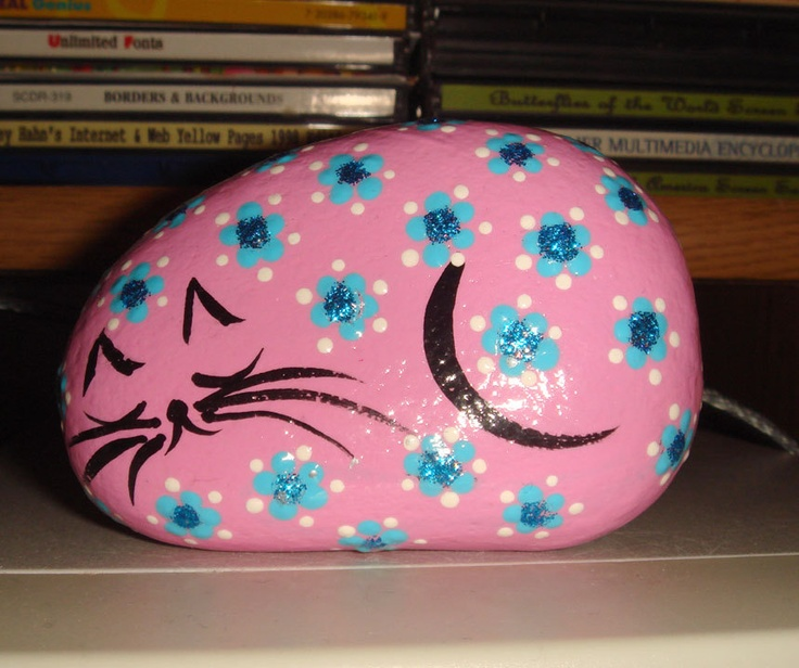 Pink Cat~ Painted Stone ~ TOTAL love ♥♥