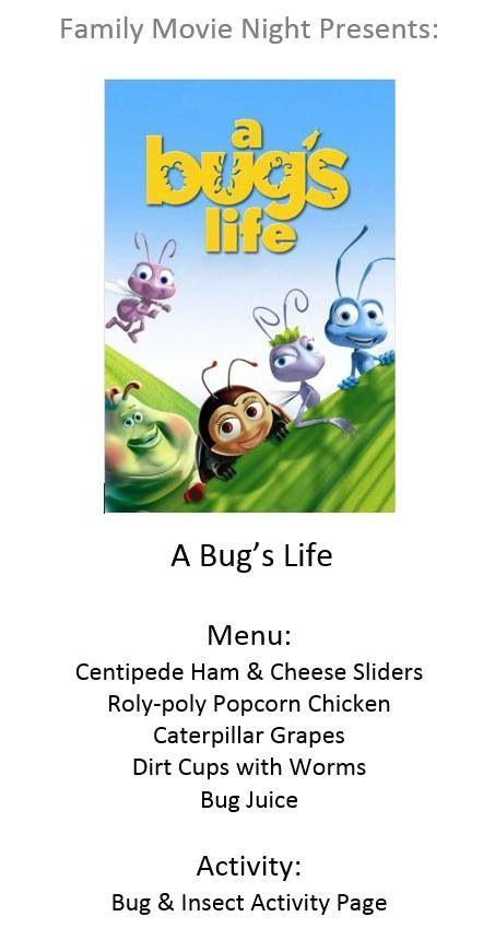 Disney movie night menu