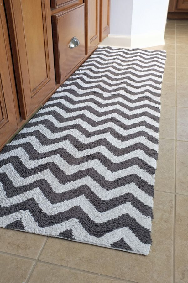 Chevron bath mats from West Elm (two stitched together) makes a runner