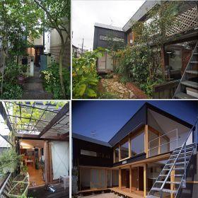 左上:玄関 右上:庭から外観 左下:2階デッキテラス 右下:外観(新築時)