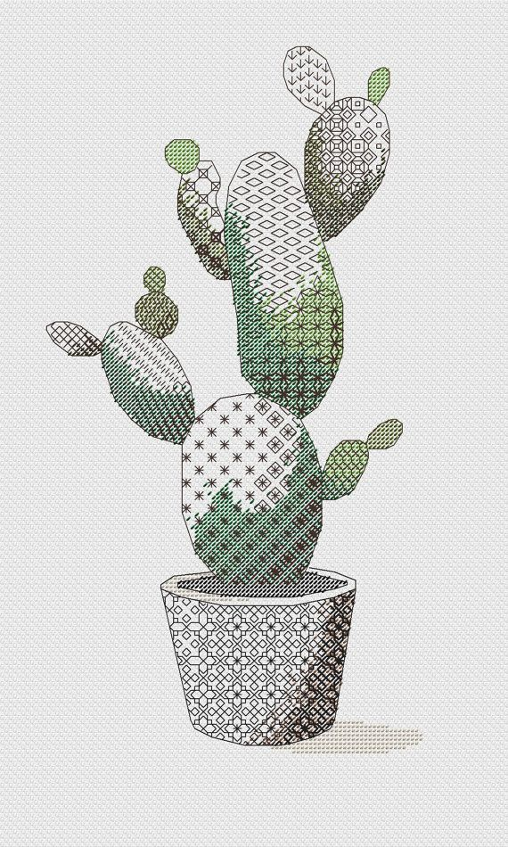 Blackwork PATTERN with succulent  Fabric: Aida 14, White  89w X 167h Stitches Size: 14 Count, 16.15w X 30.30h cm  Strands: DMC PDF Pattern  Used stitches: backstitch, half cross stitch  Kit contains 1. Pattern 2. Information about strands and symbols
