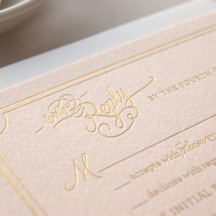 Metallic Gold Foil Letterpress Wedding Invitation on