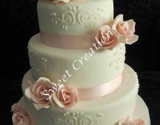 Pretty Pink roses Wedding Cake