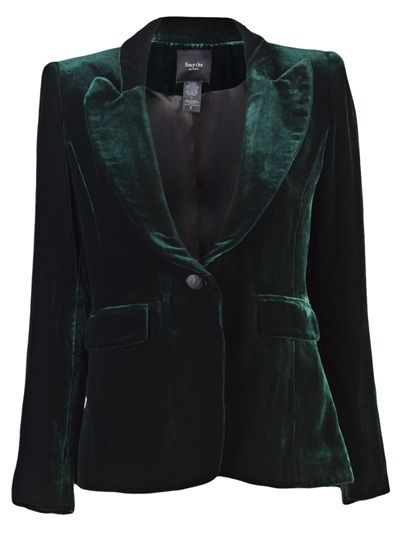 Green velvet jacket. My weakness for jewel-colored velvet is great.