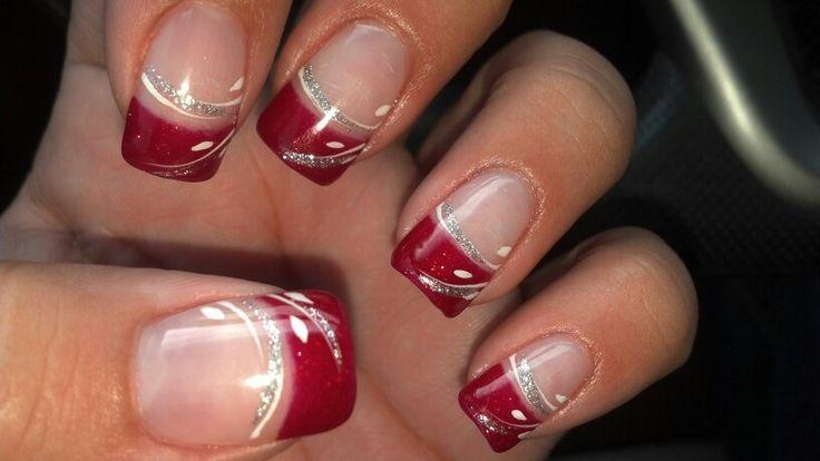 Red, White, Silver Glitter Nails