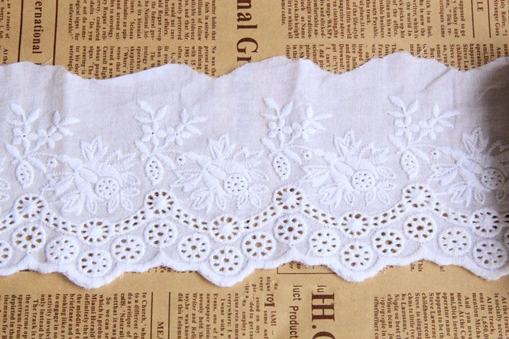 CL004 Free Shipping 15 yards/lot 10CM(3.93'') Wide Handmade DIY Garment White Cotton Fabric Embroidery Lace Trim  $31.99