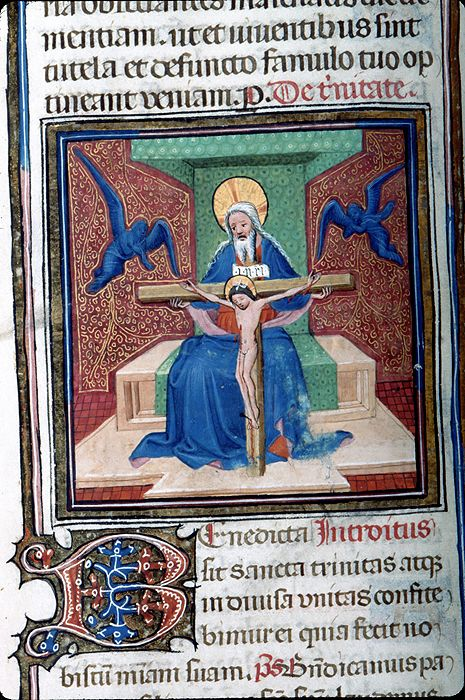 Missal, M.374 fol. 176v - Images from Medieval and Renaissance Manuscripts - The Morgan Library & MuseumTrinity: Mercy Seat -- God, crossed nimbus, is seated on throne with canopy. He holds with both hands, cross to which Christ, crossed nimbus, wearing diaphanous loincloth, bleeding from wounds, is affixed with three nails. Cross has titulus INRI. Dove of Holy Ghost is at head of Christ. All are flanked by two angels, one with hands crossed on breast, the other with joined hands raised.