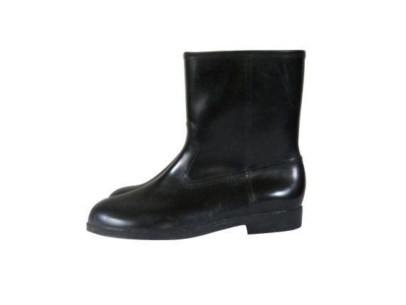 Men Winter Boot Men Snow Boot Vintage Black Rubber Rain Fur Lined Retro by #ShineBrightVintage