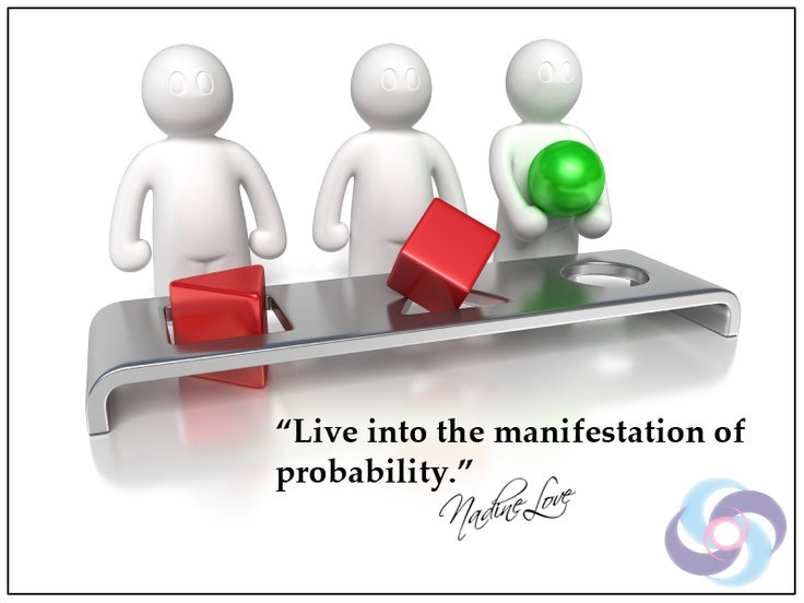 Live into the manifestation of probability.