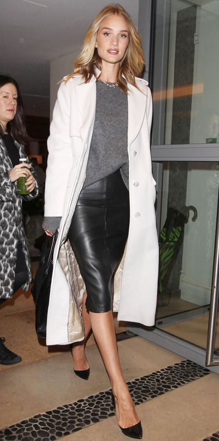 Rosie Huntington-Whiteley look | Grey sweater, leather pencil skirt and white coat