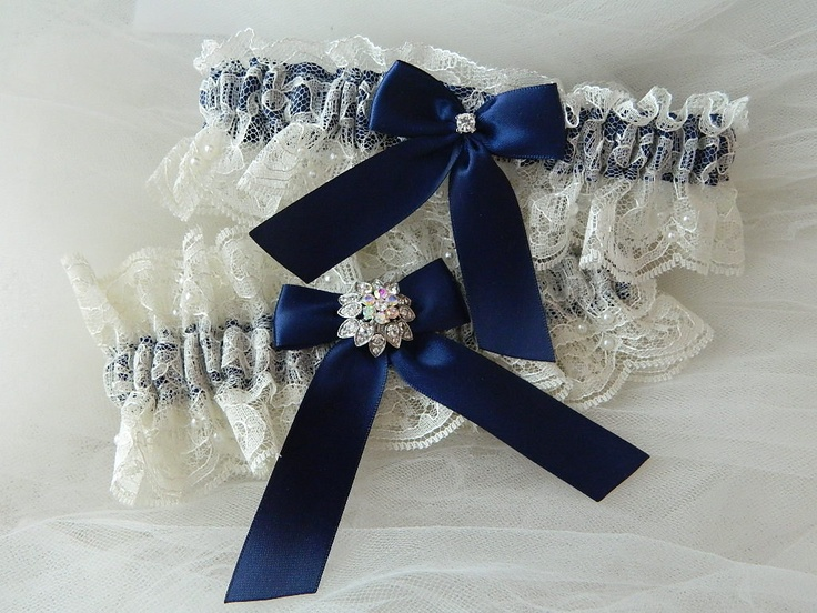 Wedding Garter Set Ivory Chantilly And Navy Blue  Bridal Garter Set With  Rhinestone Jewel