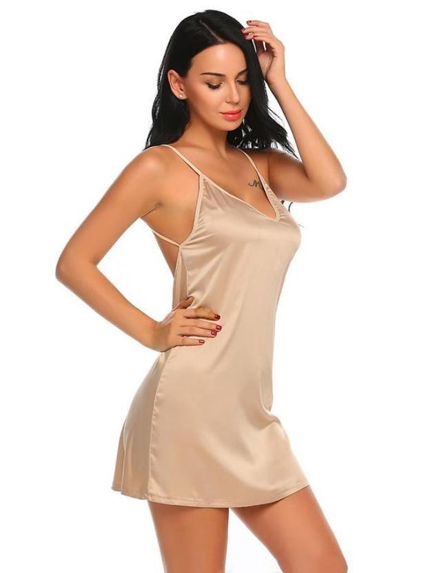 555e51110 Avidlove Sexy Satin Sleepwear for Women Summer Short Lace Nightgown  Nightwear Soft Full Slip Babydoll Chemise