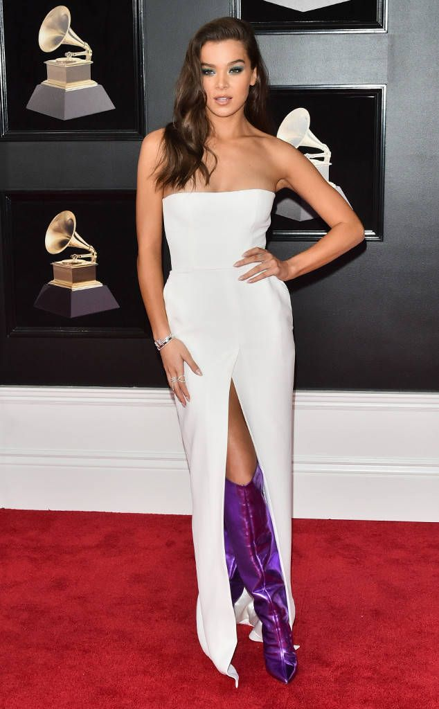 db8d18ed1e3388 Hailee Steinfeld - check out those purple boots! Wow! from 2018 Grammys Red  Carpet Fashion