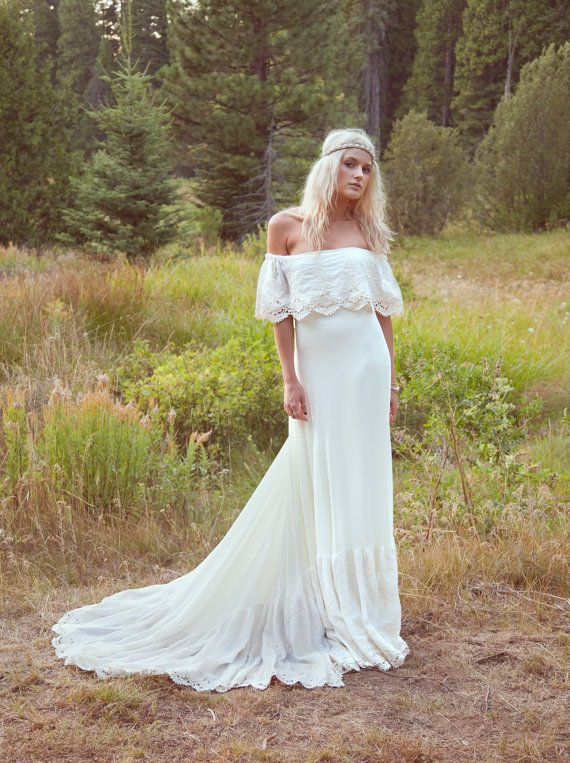 "Bohemian Wedding Dress 1970s Hippie Bohemian Gown Cream Ivory Off The Shoulder Lace Ruffle Crochet Lace Trim - ""Lu"""