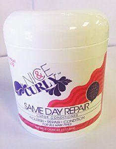 Nice & Curly Same Day Repair Creme Conditioner by Nice & Curly. $7.09. Same Day Repair. Nourish - Repair - Condition. For All Hair Types. Creme Conditioner. Same Day Repair Creme Conditioner is designed to nourish, repair and condition your curls to bring out the fab in your naturally curly style. Enriched with Aloe, Sea Grape Extract and Argan Oil, Same Day Repair Creme Conditioner hydrates and nourishes each curl from root to tip, restoring hair's natural moisture balan...
