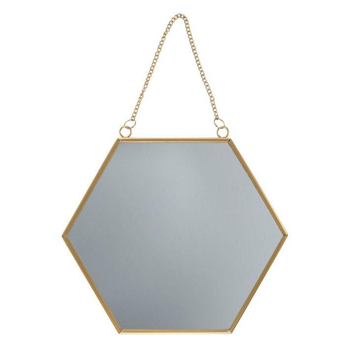 Gold Hexagon Mirror Large