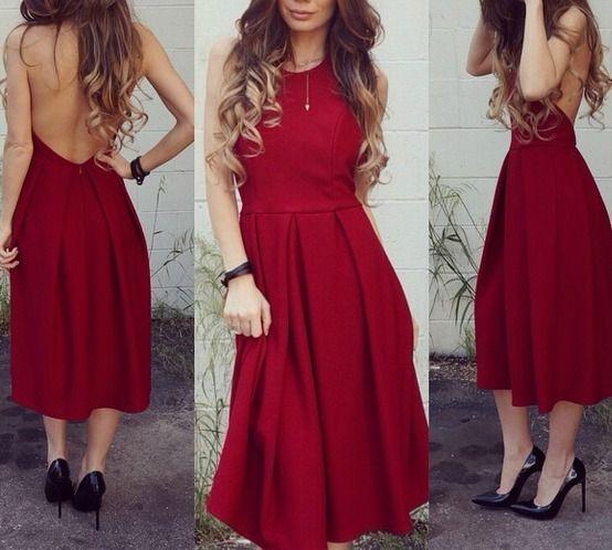 LULUS Exclusive Halter-native Girl Backless Burgundy Midi Dress #mididress