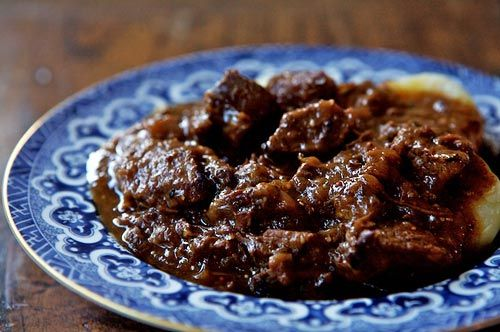 """""""Carbonnade à la Flamande'' Short Ribs: Carbonnade is the quintessential Belgian comfort food. This recipe's caramelized onions, brown sugar, and brown beer make the sweet stew addictive."""