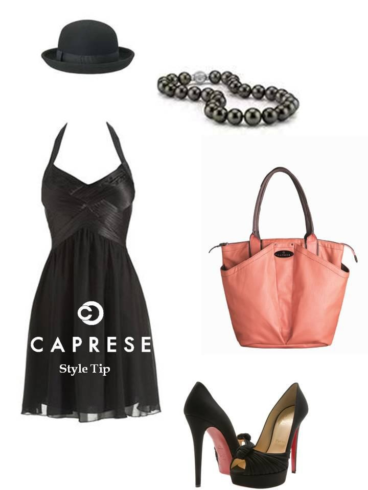 Styling with @Caprese Bags -Add some color to your classic black attire! And what better than the glamorous Coral Isabella to complete the ensemble!