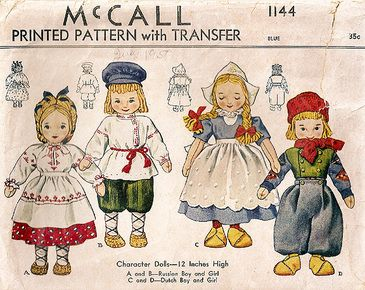-four dolls on a McCall pattern cover.