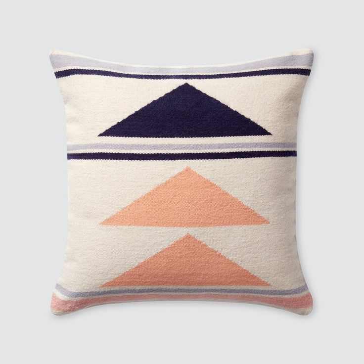 Geometric Throw Pillows | 100% Wool | Navy & Peach   – The Citizenry