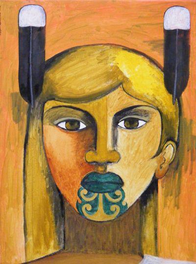 Robyn Kahukiwa ~ Blonde Wahine .Maori art Kura Gallery, Wellington
