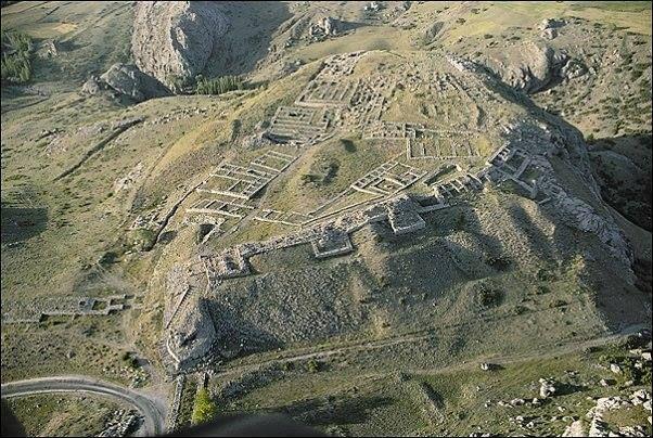 The Hittite capital, Hattusas tumulus from the air