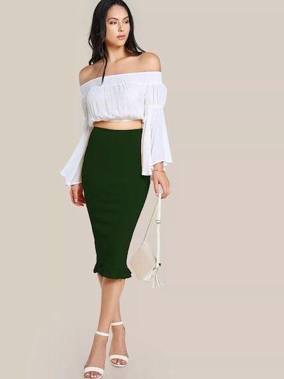 6e96b7b91 Split Ruffle Hem Pencil Skirt in 2019 | Best Selling Bottoms | Long pencil  skirt, Skirts, High waisted skirt