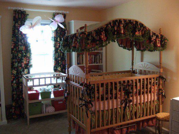 Custom Canopy Crib Bedding EUC GORGEOUS Bumper Pads, Two-Tiered Skirt, Canopy     eBay