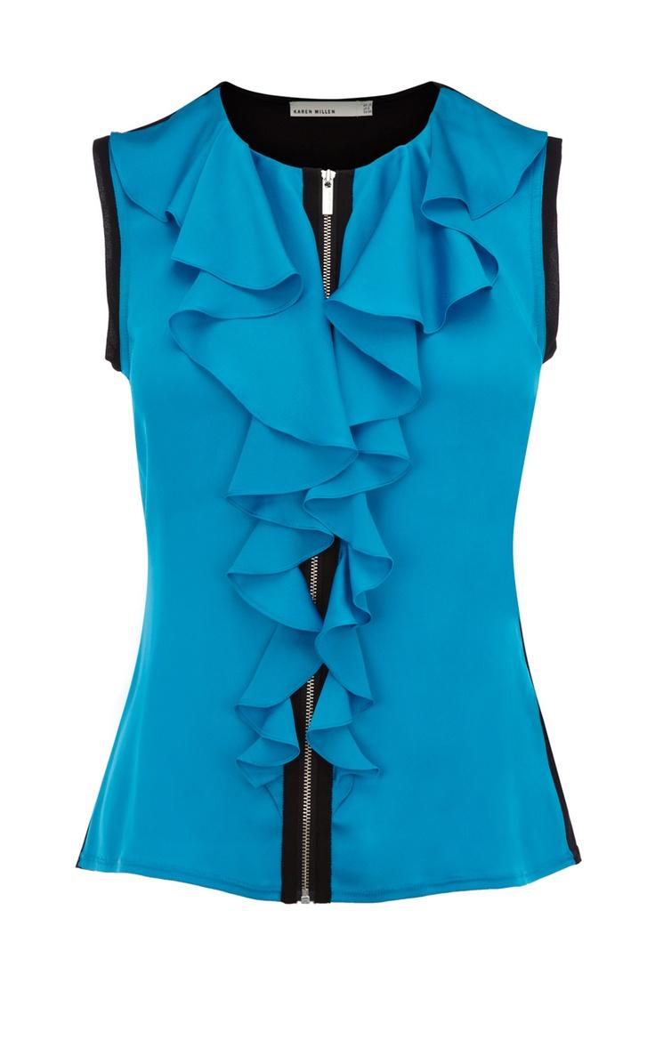 Colour Block Frill Top - Karen Millen  This would be so cute with a hidden zipper.