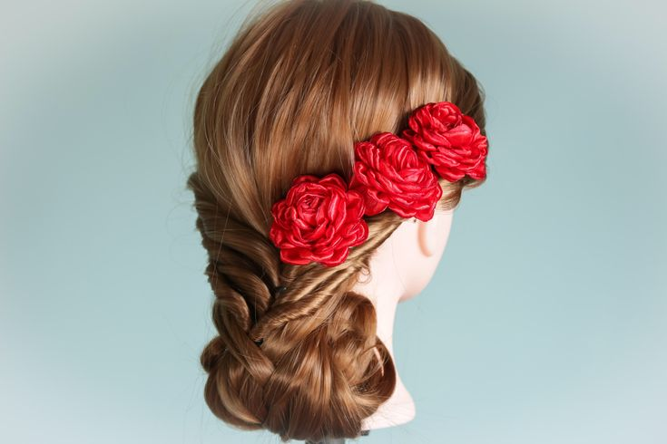 A personal favourite from my Etsy shop https://www.etsy.com/ie/listing/574168139/fabulous-set-of-3-red-kanzashi-flowers