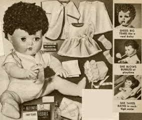 Popular boys and girls toys from 1953 in the Fifties including Game of Assembly Line and Tiny Tears