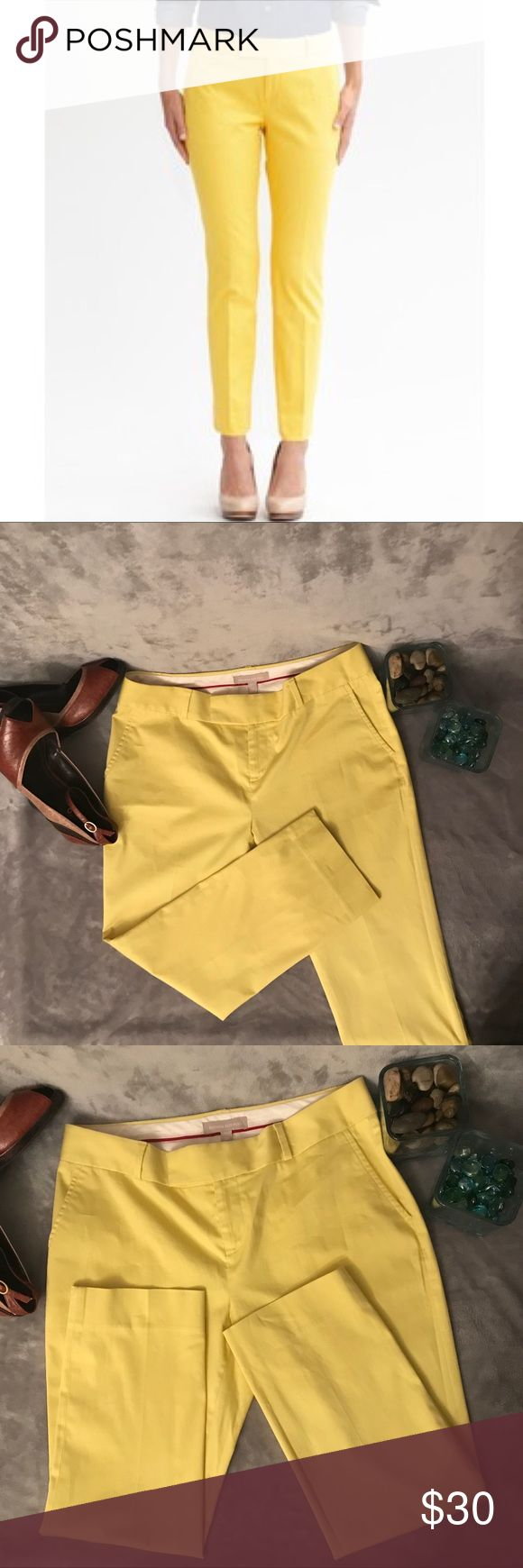 "Banana Republic Hampton Ankle Pants Gorgeous Hampton fit pants in this fabulous yellow are the perfect addition to your work wardrobe. These pants are in excellent condition- cared for in a smoke-free home. *Color: Moon Yellow *Inseam: 23.5"" [R101] Banana Republic Pants Ankle & Cropped"