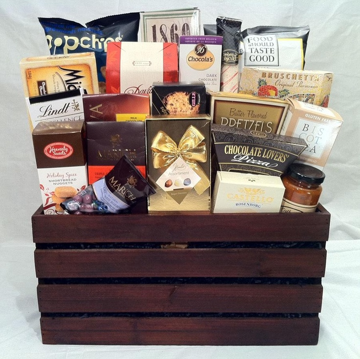 Corporate wooden box gift basket  $200