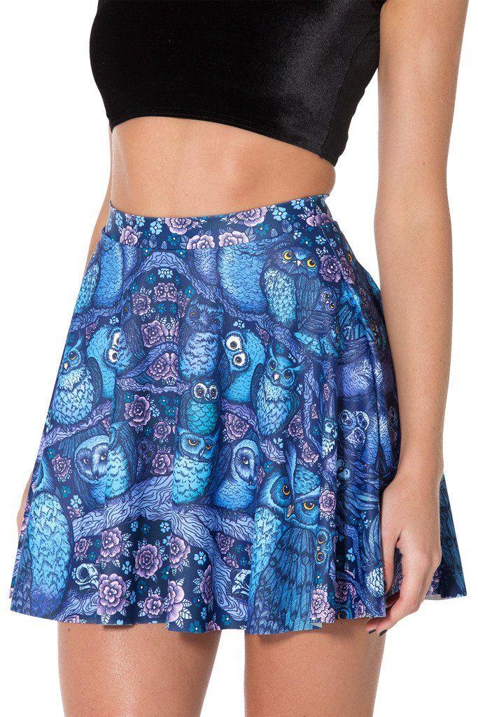 Midnight Owl Skater Skirt - L
