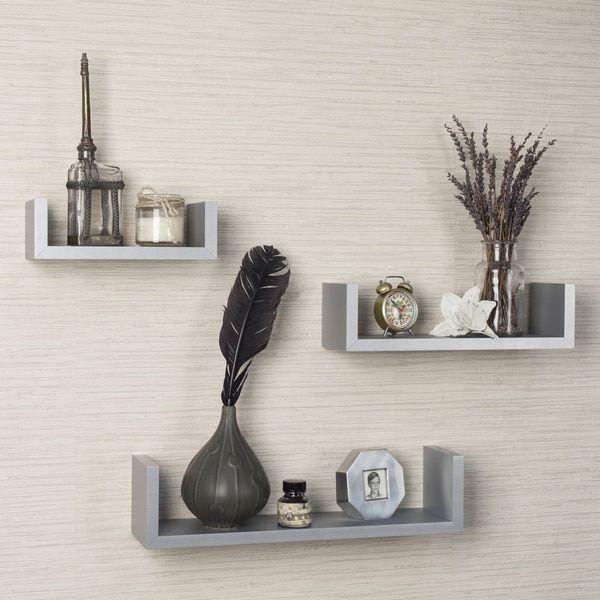 Danya B Laminated Silver Grey Floating 'U' Shelves (Set of 3)