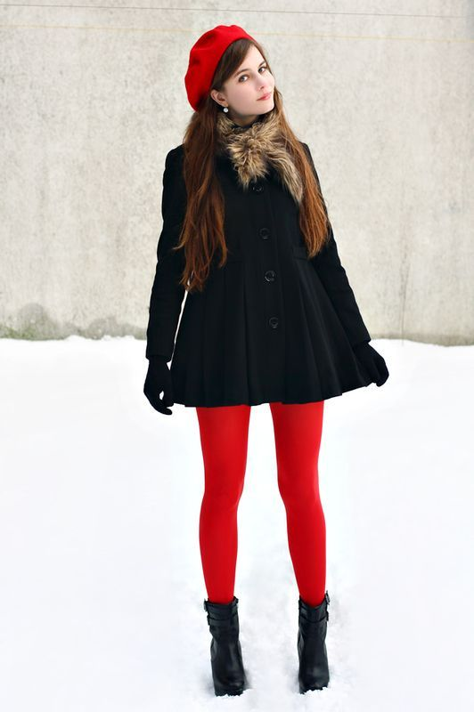 Show off your sophisticated side in a black coat. Complement this look with black leather booties.  Shop this look for $87:  http://lookastic.com/women/looks/beanie-scarf-coat-gloves-tights-ankle-boots/7182  — Red Beanie  — Brown Fur Scarf  — Black Coat  — Black Wool Gloves  — Red Tights  — Black Leather Ankle Boots