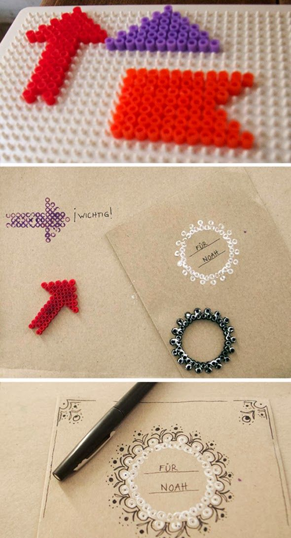An idea to make stamps for scrapbooking: Use perler beads to make your own stamps by El hada de papel