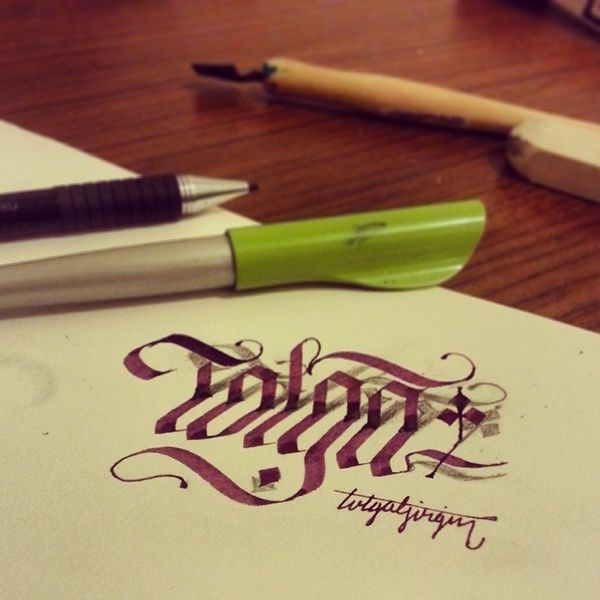 I tried to make 3D lettering with parallelpen and pencil. Some works are anamorphic.