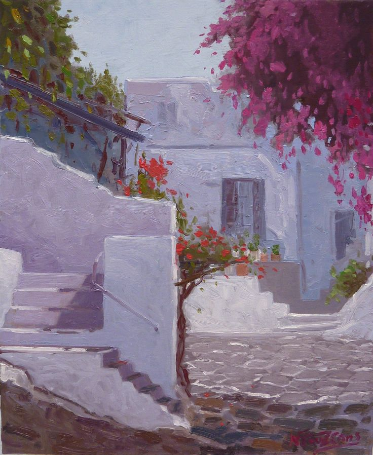 ''Aegean alley'' 30x40 cm oil painting by Babis Douzepis