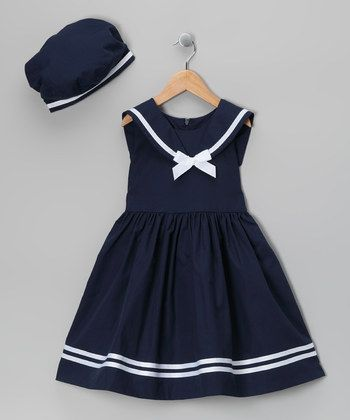 Navy  White Stripe Nautical Dress  Beret - Infant  Toddler | Daily deals for moms, babies and kids